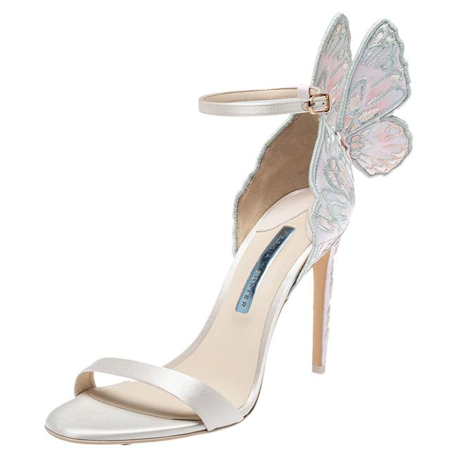Item - Ivory White Embroidered Satin Chiara Ankle Strap Size 41 Sandals