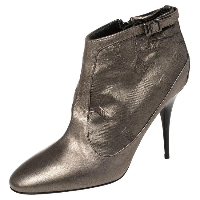 Item - Metallic Grey Leather Ankle Size 40 Boots/Booties