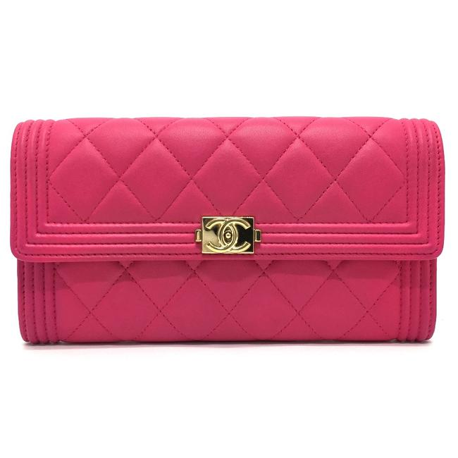 Item - Long Boy A80286 Matelasse (With Coin Compartment) Pink Wallet