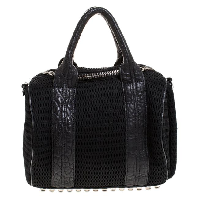Item - Black Leather and Fabric Crochet Rocco Bag Satchel