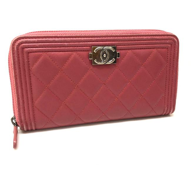 Item - Long Boy Zip Around Rose Lambskin Leather A68733 Wallet