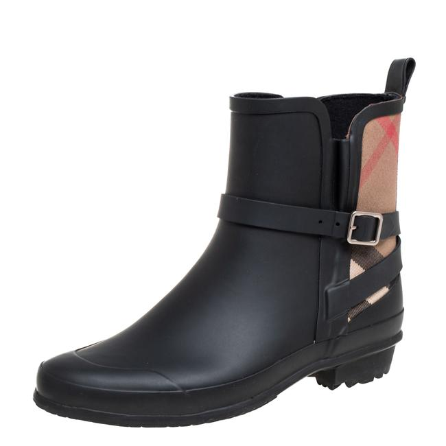 Item - Black Rubber and Canvas Nova Check Riddlestone Wrap Rain Size 37 Boots/Booties