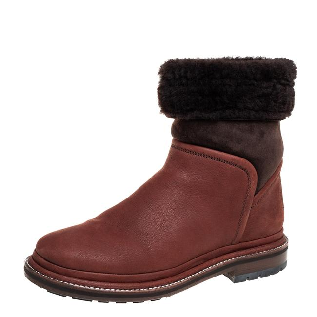 Item - Brown Nubuck and Suede Shearling Size 37.5 Boots/Booties