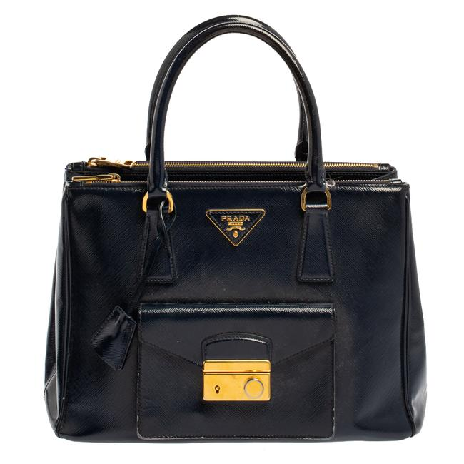 Item - Double Saffiano Patent Leather Medium Front Pocket Zip Tote