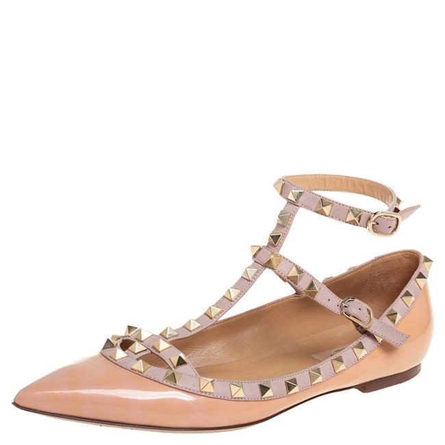 Item - Beige Patent and Leather Rockstud Size 39.5 Flats