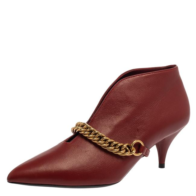 Item - Burgundy Leather Bronwen Chain Embellished Pointed Toe Ankle Size 37 Boots/Booties
