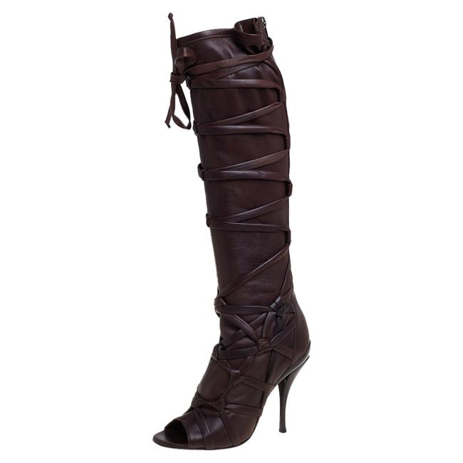 Item - Brown Leather Peep Toe Knee High Length Size 38 Boots/Booties