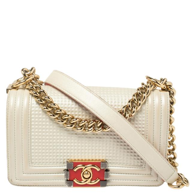 Item - Classic Flap Boy White Cube Embossed Shimmer Leather Small Chain Shoulder Bag
