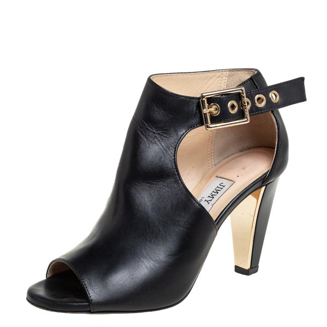 Item - Black Leather Belted Detail Open Toe Ankle Size 35 Boots/Booties