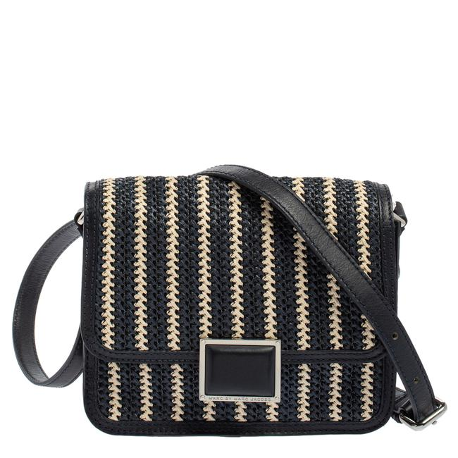 Item - Crossbody Blue/White Woven Raffia and Leather Flap Shoulder Bag