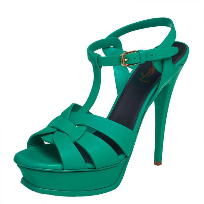 Item - Tribute Green Leather Size 39.5 Sandals