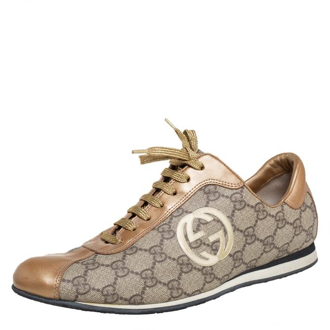 Gucci Gold/Beige Gg Canvas and Leather Low Top Sneakers Size 41 Athletic Gucci Gold/Beige Gg Canvas and Leather Low Top Sneakers Size 41 Athletic Image 1