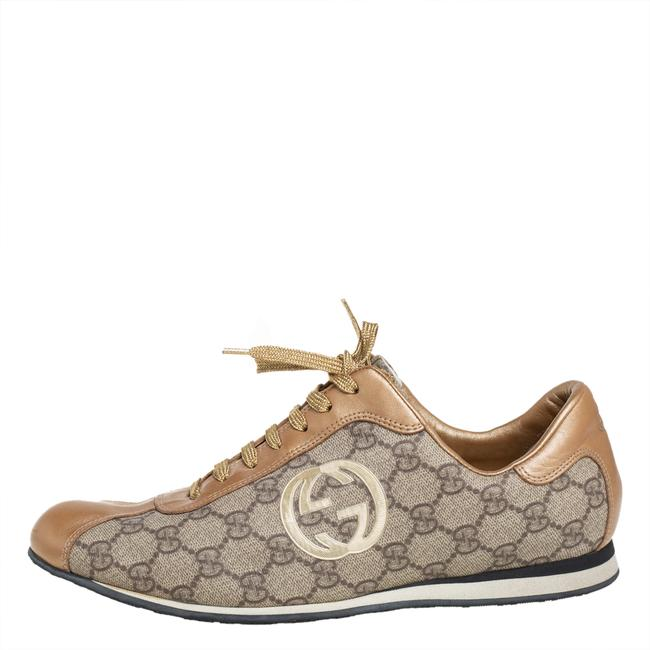 Gucci Gold/Beige Gg Canvas and Leather Low Top Sneakers Size 41 Athletic Gucci Gold/Beige Gg Canvas and Leather Low Top Sneakers Size 41 Athletic Image 2