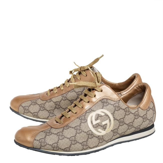 Gucci Gold/Beige Gg Canvas and Leather Low Top Sneakers Size 41 Athletic Gucci Gold/Beige Gg Canvas and Leather Low Top Sneakers Size 41 Athletic Image 4