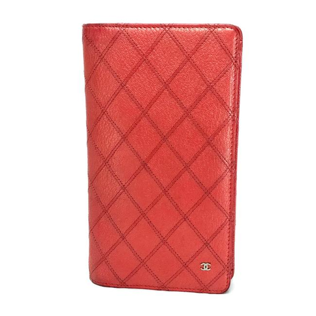 Item - Long Quilted Double Stitch Orange-red Leather Wallet