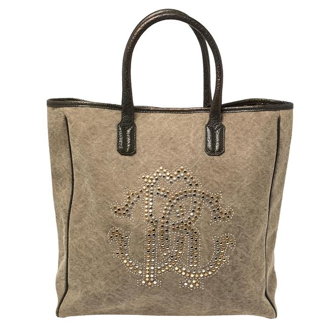 Item - Moss Green Canvas and Leather Studded Logo Tote