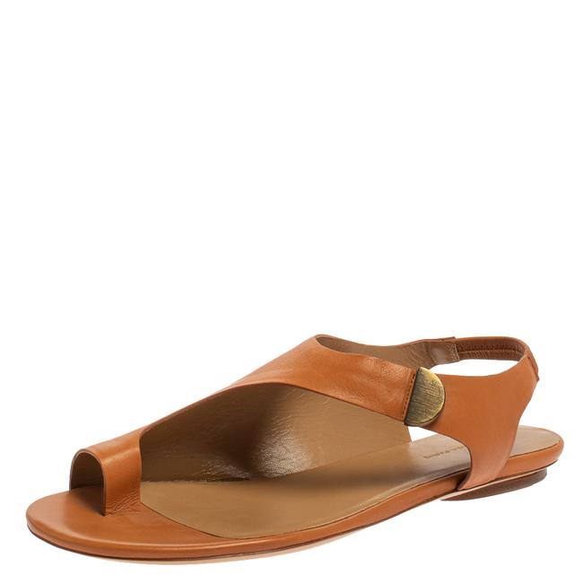 Item - Brown Leather Slingback Flat Size 40 Sandals