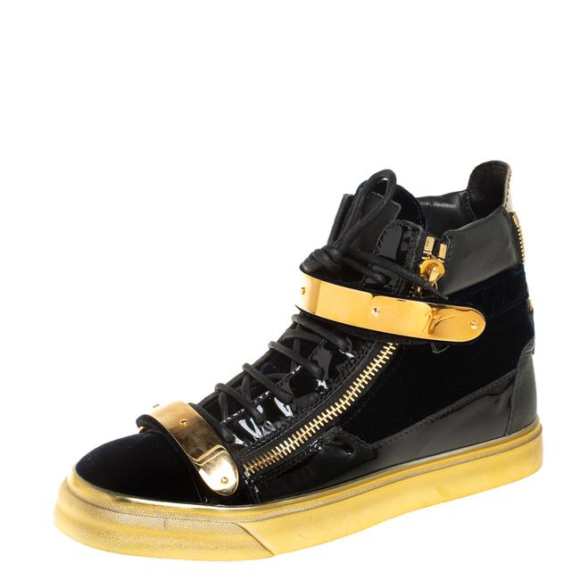 Item - Black Velvet and Patent Leather Coby High Top Sneakers Size 39 Athletic