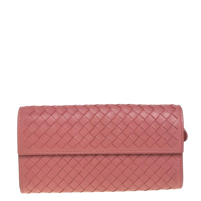 Item - Old Rose Intrecciato Leather Continental Flap Wallet