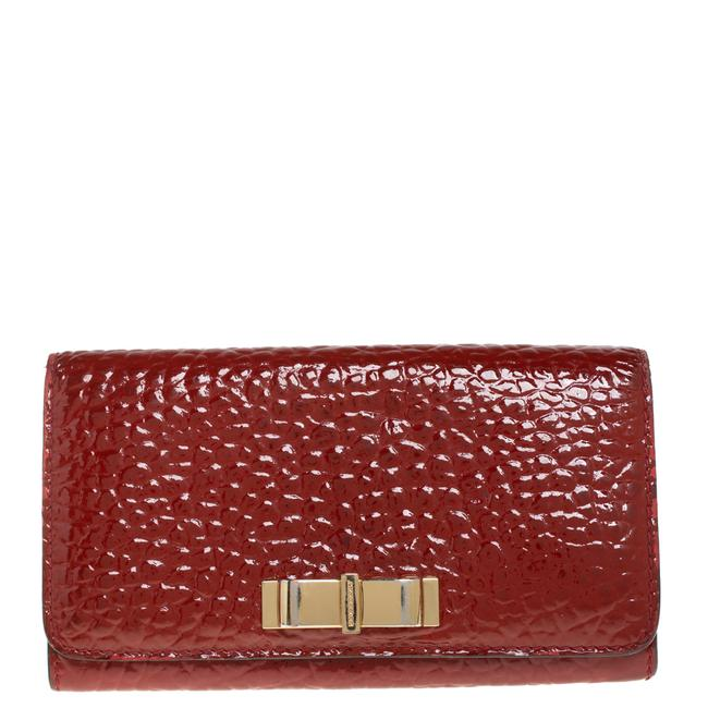 Item - Red Embossed Patent Leather Penrose Continental Wallet