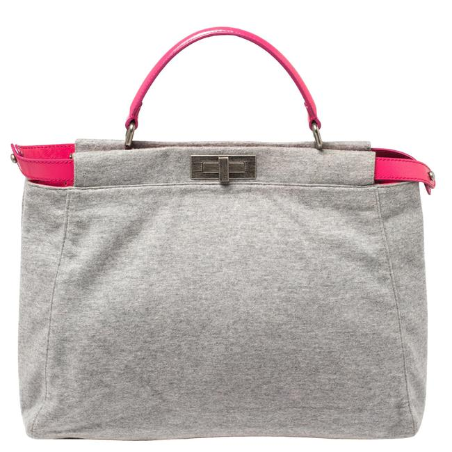 Item - Top Handle Bag Jersey Grey/Pink and Leather Large Limited Edition Peekaboo Wristlet