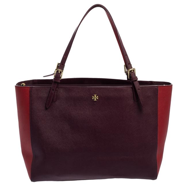 Item - Burgundy/Red Saffiano Leather Emerson Buckle Tote