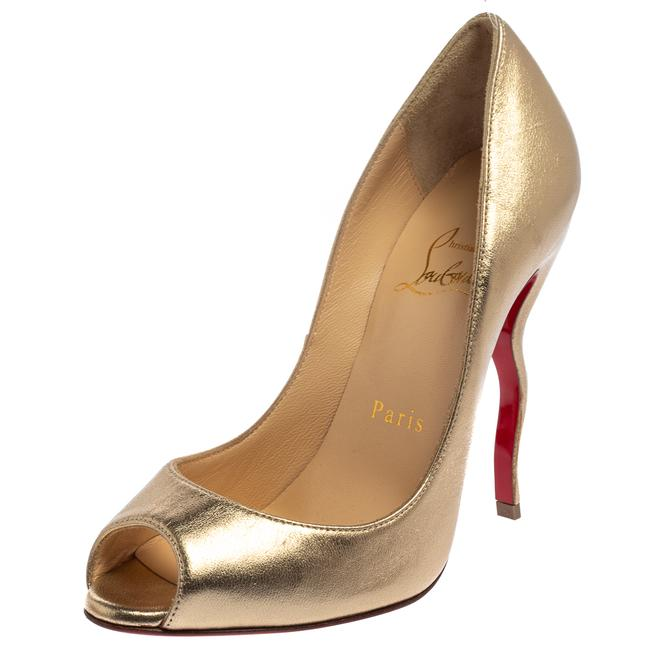 Item - Gold Leather Jolly Squiggle Peep Size 35.5 Pumps