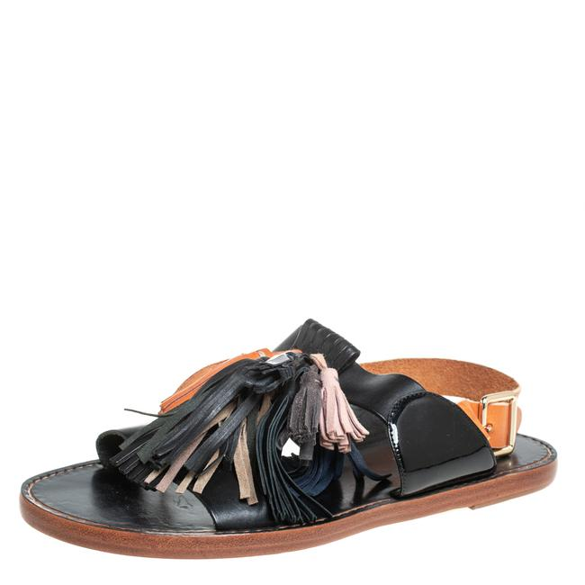 Item - Etoile Black/Brown Leather Clay Tassel Flat Size 40 Sandals