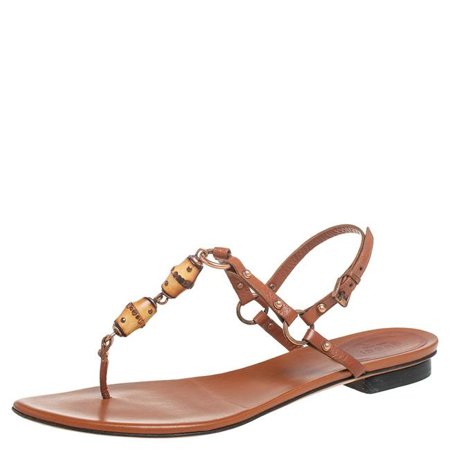 Item - Brown Leather Bamboo Embellished Flat Size 39 Sandals