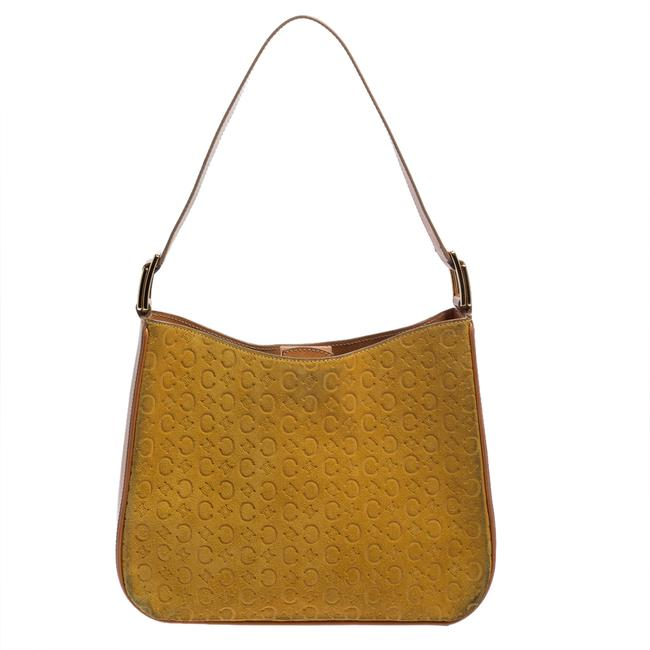 Item - Yellow Leather and Suede Monogram Embossed Hobo Bag