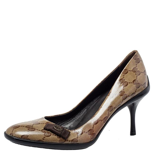 Gucci Brown/Beige Gg Crystal Canvas Bow Round Size 39 Pumps Gucci Brown/Beige Gg Crystal Canvas Bow Round Size 39 Pumps Image 1