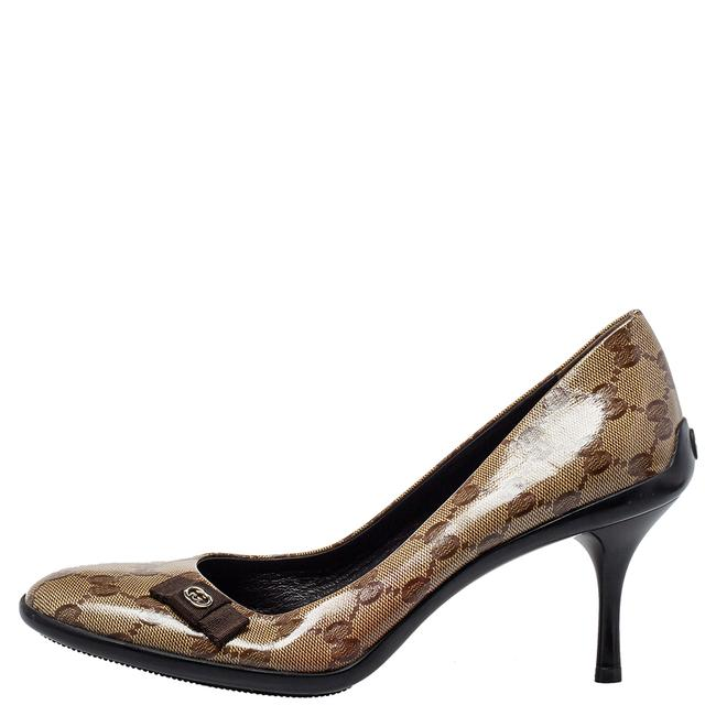 Gucci Brown/Beige Gg Crystal Canvas Bow Round Size 39 Pumps Gucci Brown/Beige Gg Crystal Canvas Bow Round Size 39 Pumps Image 2