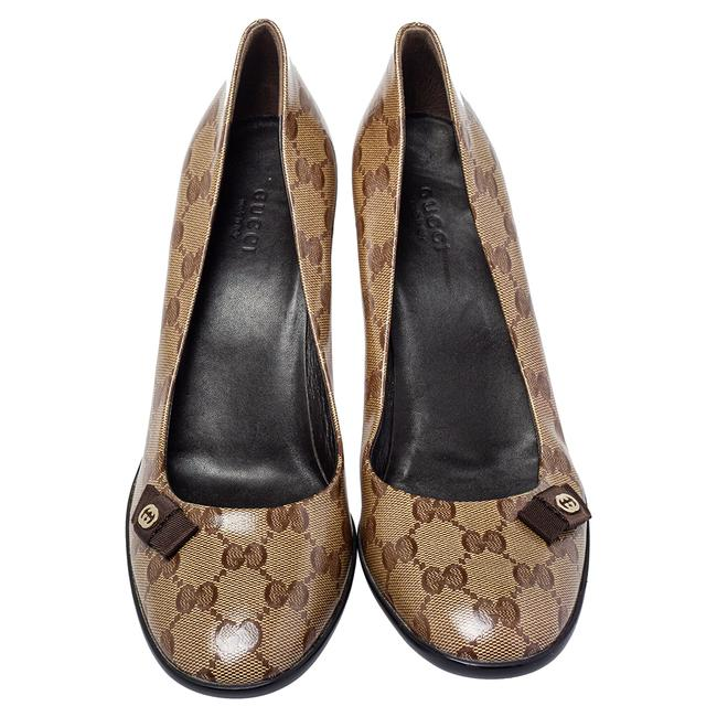 Gucci Brown/Beige Gg Crystal Canvas Bow Round Size 39 Pumps Gucci Brown/Beige Gg Crystal Canvas Bow Round Size 39 Pumps Image 3