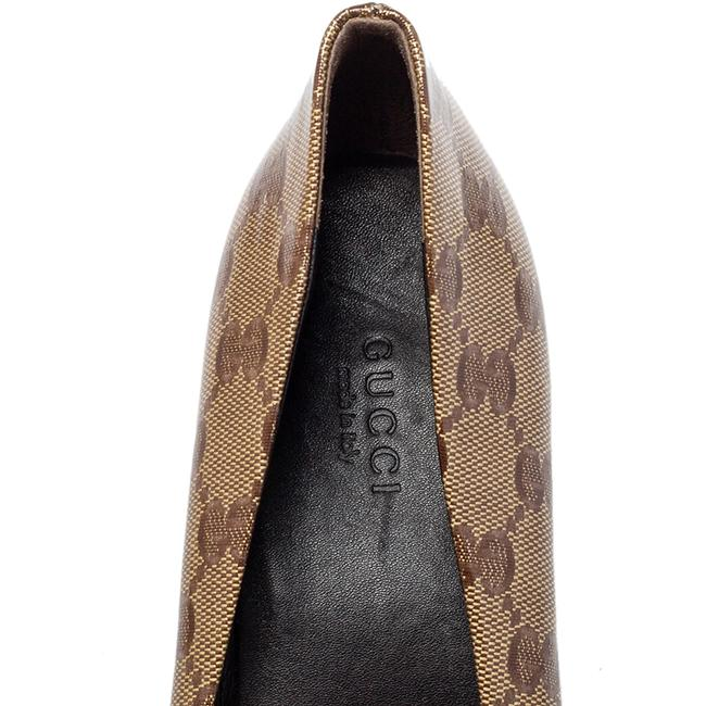 Gucci Brown/Beige Gg Crystal Canvas Bow Round Size 39 Pumps Gucci Brown/Beige Gg Crystal Canvas Bow Round Size 39 Pumps Image 7