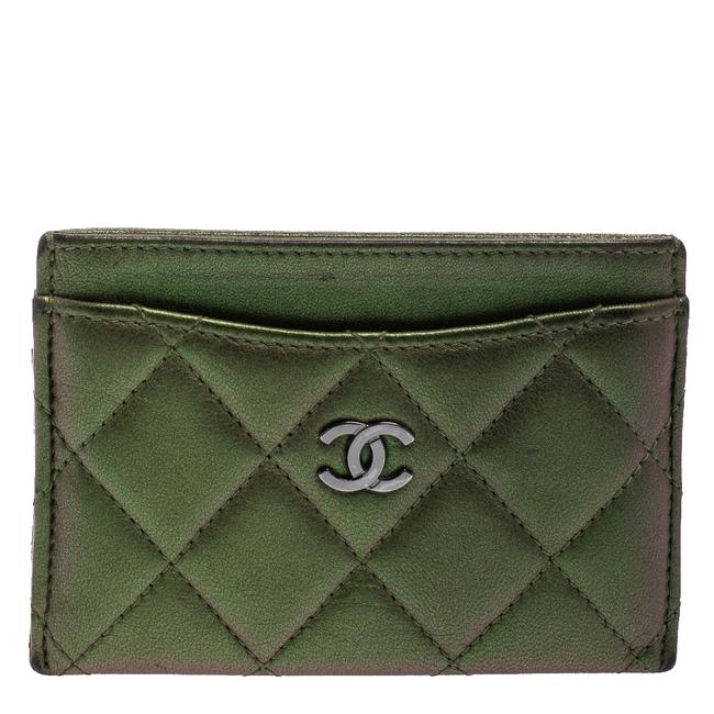 Item - Metallic Green Quilted Leather Cc Card Case Wallet