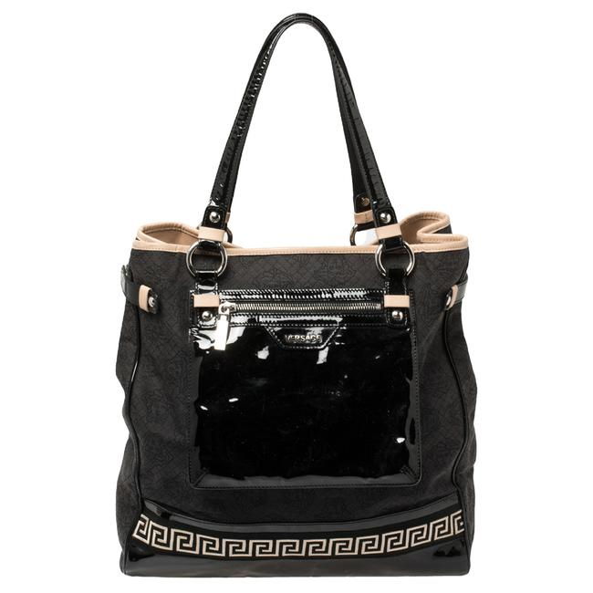 Item - Canvas and Patent Leather Tote