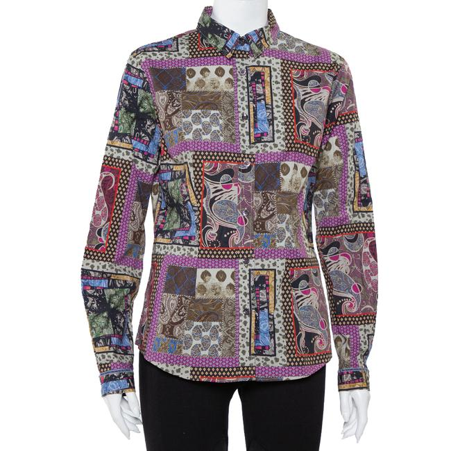 Item - L Multicolor Paisley Printed Button Front Fitted Shirt Blouse