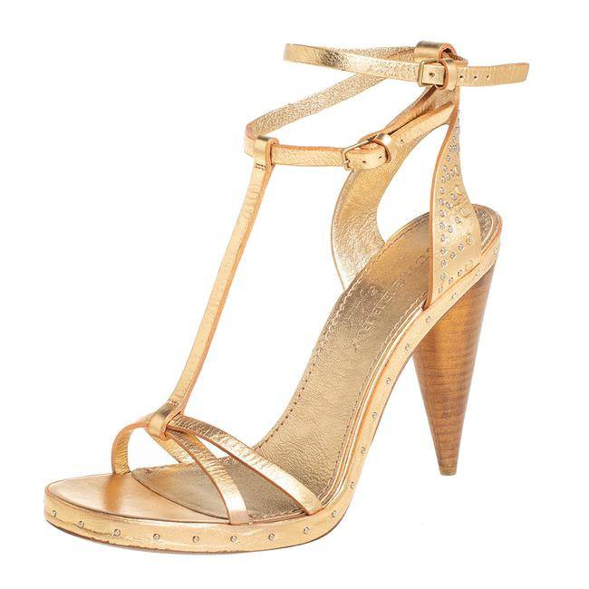 Item - Gold Leather Hans T Strap Size 39.5 Sandals