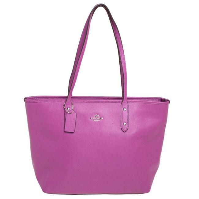 Item - Purple Pebbled Leather Town Tote