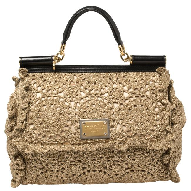 Item - Top Handle Bag Dolce & Gabbana Gold/Black Metallic Embroidered Fabric and Leather Large Sicily Wristlet