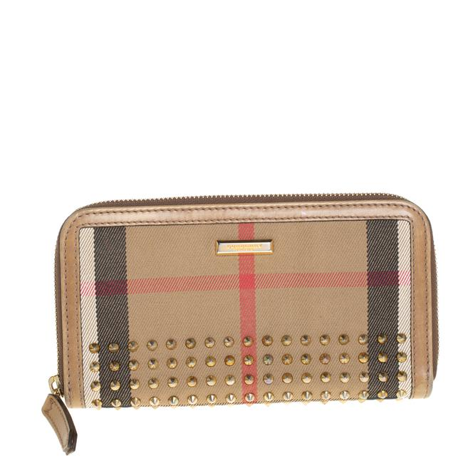 Item - Beige Check Canvas and Leather Studded Zip Around Wallet