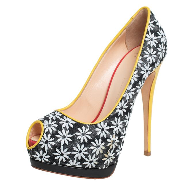 Item - Floral Print Fabric and Leather Platform Size 38 Pumps