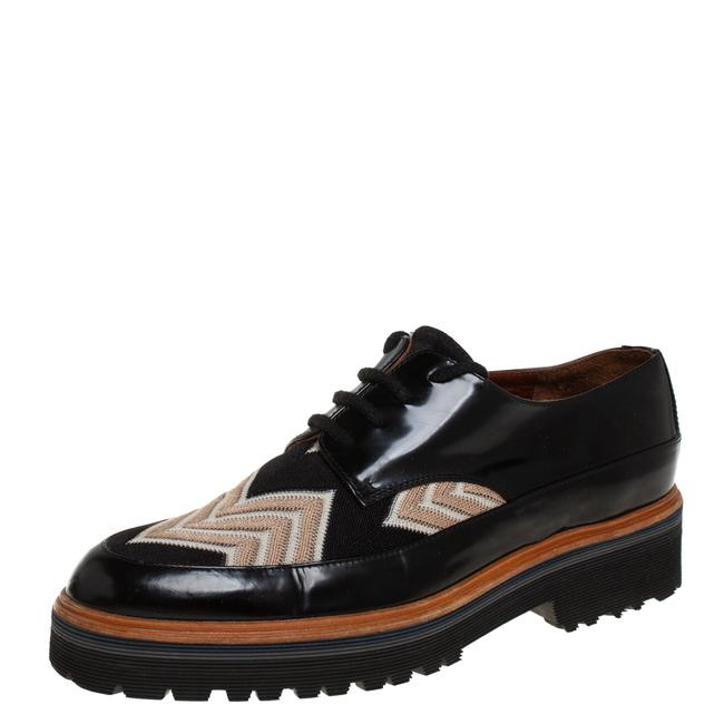 Item - Black/Beige Patent Leather and Mesh Derby Size 37.5 Flats