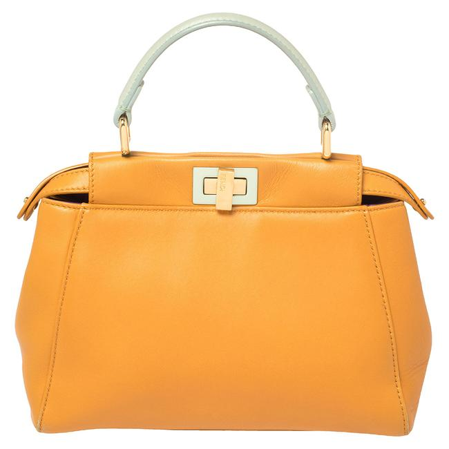 Item - Top Handle Bag Orange/Green Leather Mini Peekaboo Wristlet