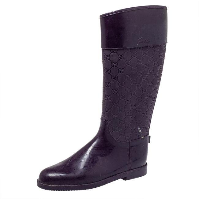 Item - Purple Gg Embossed Rubber Rain Size 41 Boots/Booties