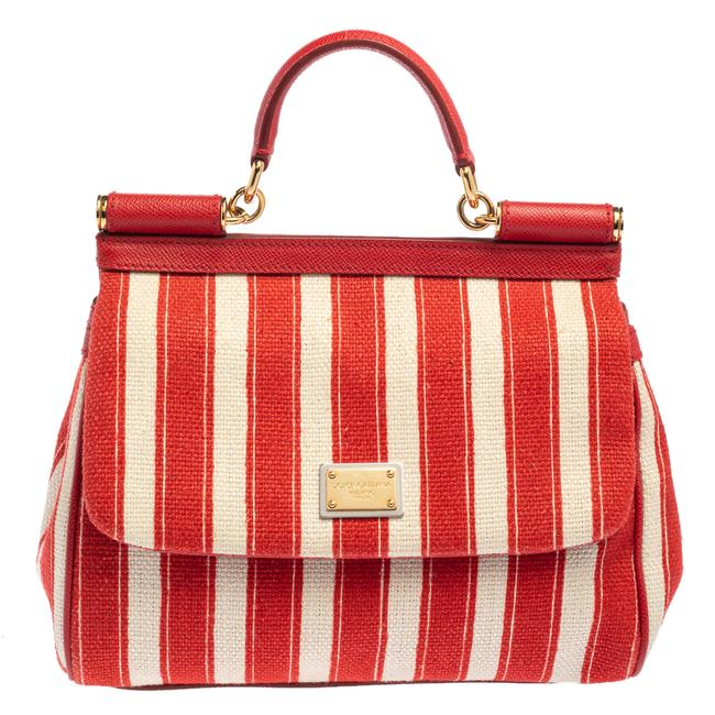 Item - Top Handle Bag Dolce & Gabbana Red/White Stripe Raffia and Leather Medium Miss Sicily Wristlet