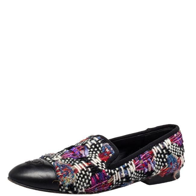 Item - Multicolor Tweed and Leather Cc Cap Toe Smoking Slippers Size 37.5 Flats