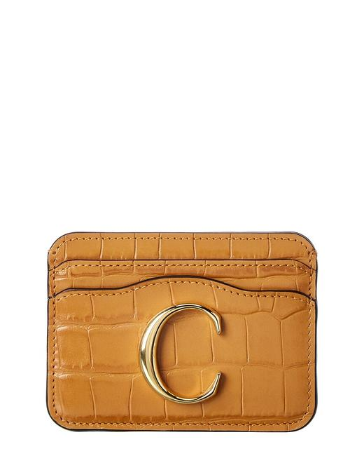 Item - Croc-embossed Leather Card Holder Chc19up085 A87 211 Wallet
