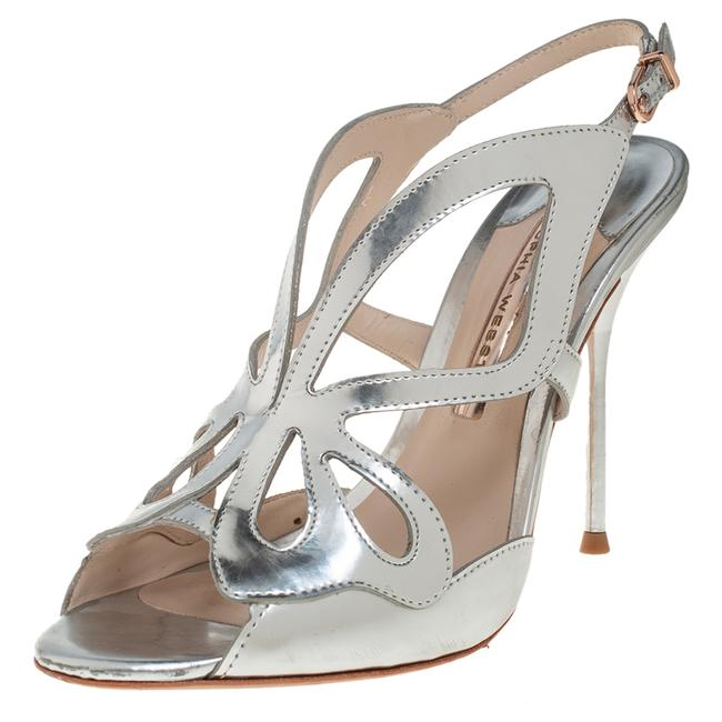 Item - Silver Leather Madame Butterfly Size 38 Sandals