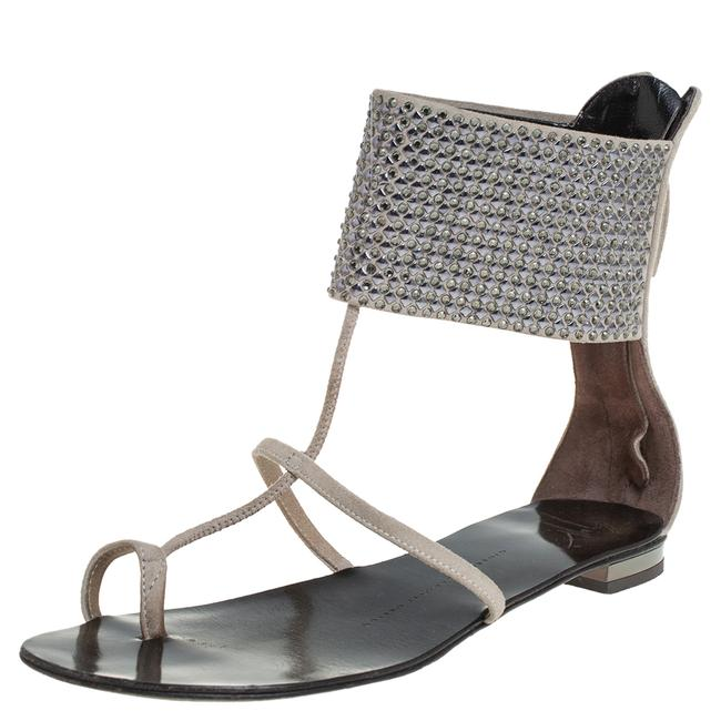 Item - Grey Suede Embellished Flat Ankle Cuff Size 36 Sandals